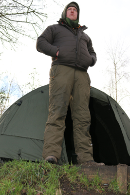 Ed likes to fully layer up in winter to keep warm whilst using a twin skin bivvy to keep the condensation at bay.